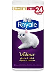 Royale Velour Plush and Thick Toilet Paper, 8 Triple Rolls, 142 Sheets Per Roll, Soft Bathroom Tissue, Hypoallergenic