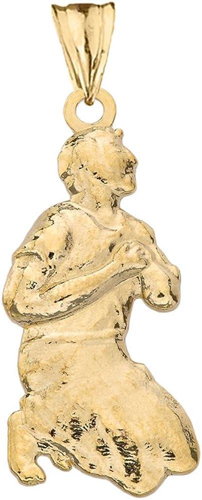 Fine 10k Yellow GoldMilagros Miracle Praying Man Pendant