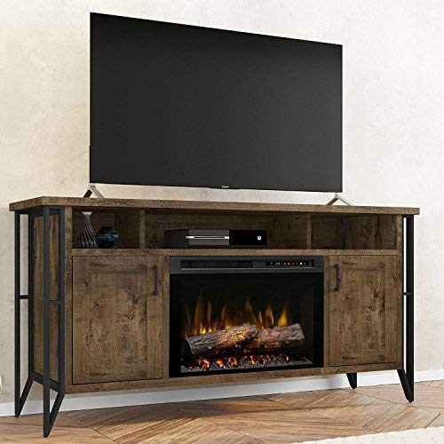 Bed Set Chestnut - DIMPLEX Electric Fireplace, TV Stand, Media Console, Space Heater and Entertainment Center with Glass Ember Bed Set in Farmhouse Chestnut Finish - Tyson #GDS26G8-1873FM