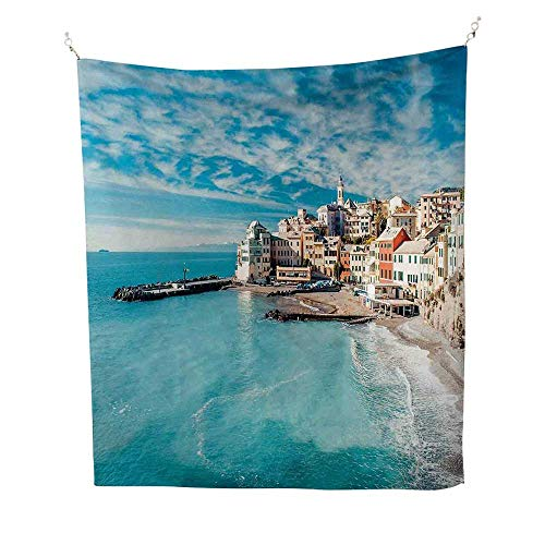 Italycool tapestryPanorama of Old Italian Fishing Village Beach in Old Province Coastal Charm Image 57W x 74L inch Tapestry for wallTurquoise