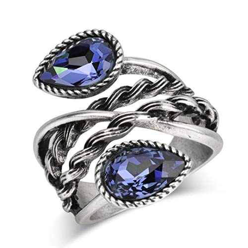 MARRLY.H Vintage Silver Color Crystal Rings for Women Cocktail Party Wide Female Blue Ring Wedding Jewelry Blue - Bloom Cocktail Crystal Ring