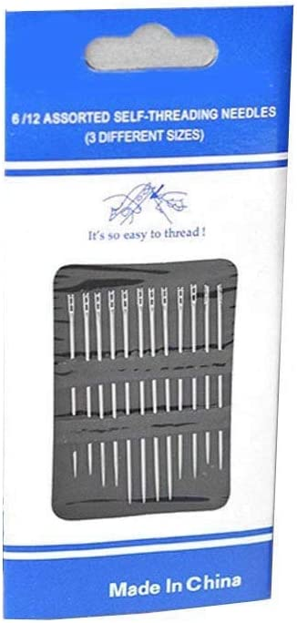 m/·kvfa Magic Embroid12PCS Thick Big Eye Sewing Self-Threading Needles Embroidery Hand Sewing Start Sew in One Second