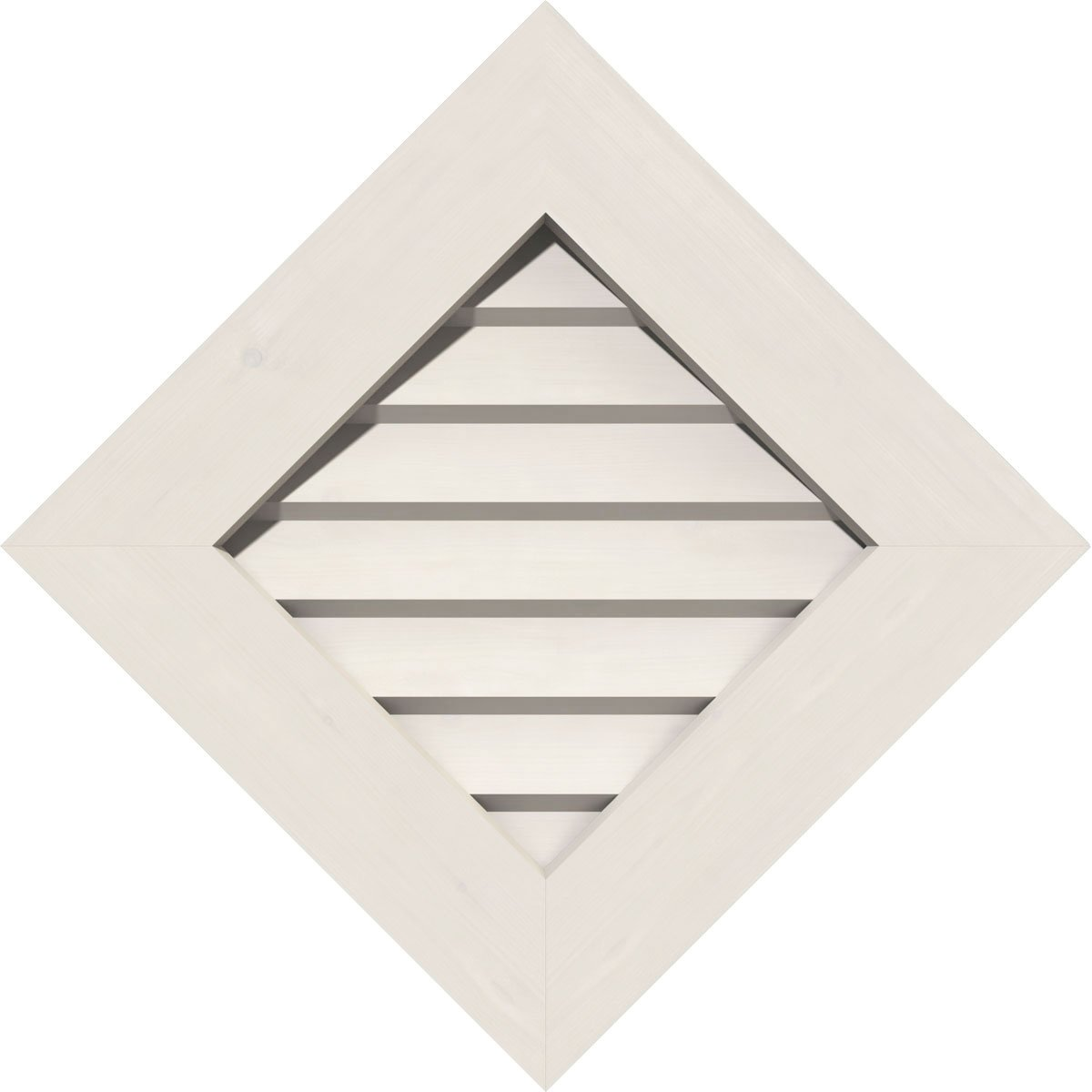 Functional Ekena Millwork GVPDI22X2201FUN 22 H Rough Opening 27 W x 27 H 22 W x 22 H Diamond x 27 H Size: Unfinished PVC Gable Vent w// 1 x 4 Flat Trim Frame