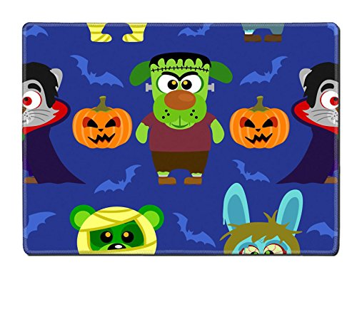Luxlady Natural Rubber Placemat IMAGE ID: 31870702 Seamless with animal in Halloween (Dracula Images Costumes)