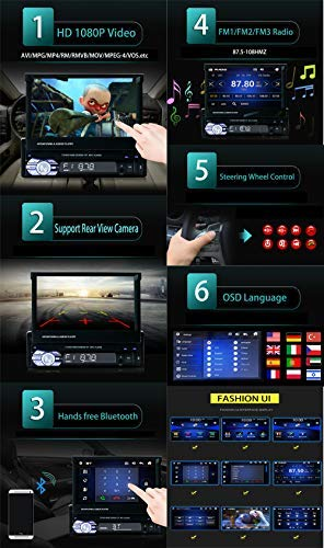 Ezonetronics Single 1Din 7 inch Slip Down Car Stereo,in Dash 1080P TFT/LCD Touch Screen Car FM Radio Receiver with USB/SD,MP4/MP5 Car Player Support Rear Camera for Retractable Car Radio CW9601