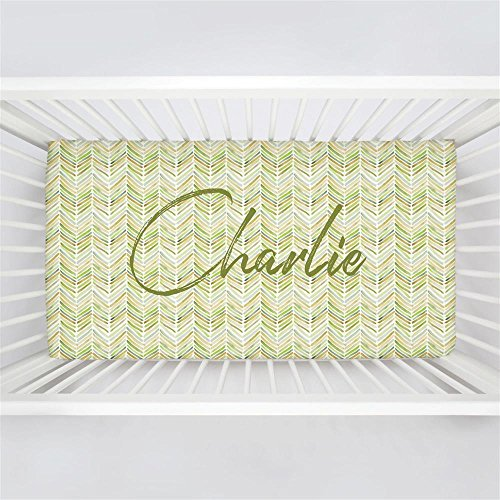 Carousel Designs Personalized Custom Green Painted Chevron Crib Sheet Charlie Idea - Organic 100% Cotton Fitted Crib Sheet - Made in the USA