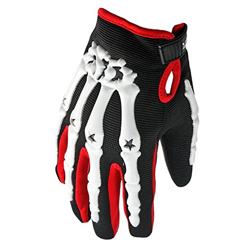 Pro-Biker Bicycle Motorcycle Motorbike Powersports Racing Full Outdoor Cycling Camping Jogging Cross Country Gloves (Hand Bone Skeleton,L, Red)