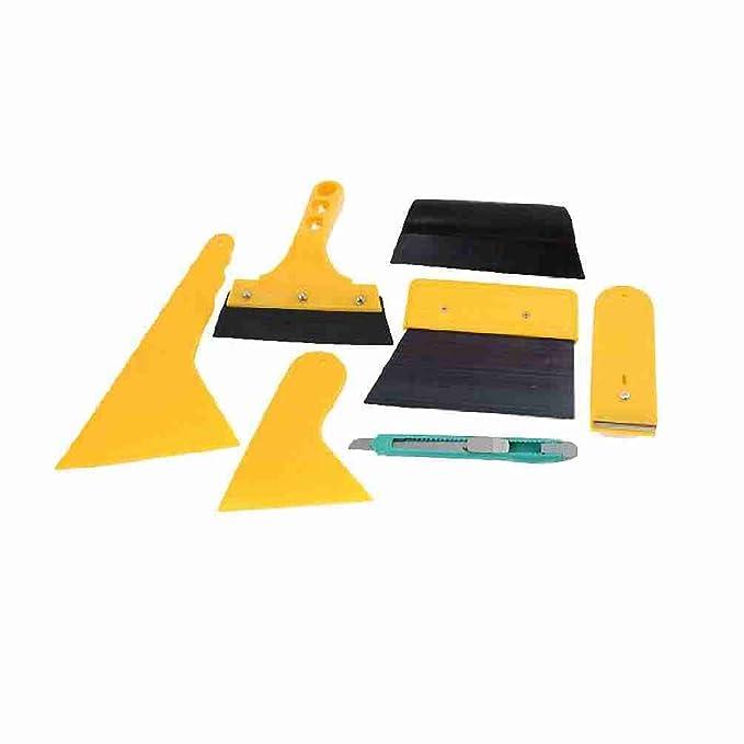 7 en 1 Instalación de limpiaparabrisas Cine raspador hoja cortador de vidrio herramienta amarillo para el coche: Amazon.es: Coche y moto