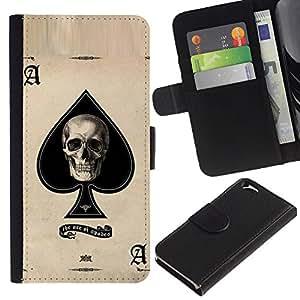 KingStore / Leather Etui en cuir / Apple Iphone 6 / Ace Espadas Cráneo Negro Tarjetas de Poker