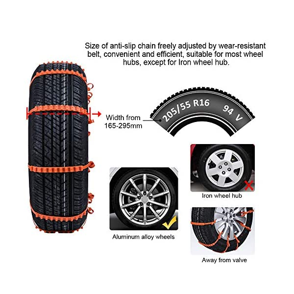 Oziral Chaînes à Neige Lot de 10 Universelles Chaines Voiture Anti-dérapant et Réglables pour Voiture Camion SUV Largeur…