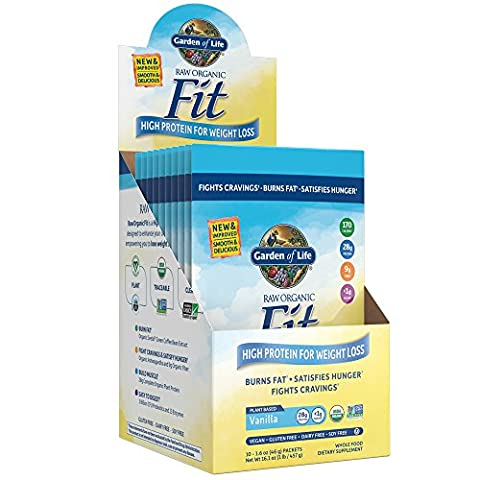 Garden of Life Meal Replacement - Raw Organic Fit Vegan Nutritional Shake for Weight Loss, Vanilla, 10 Count Tray