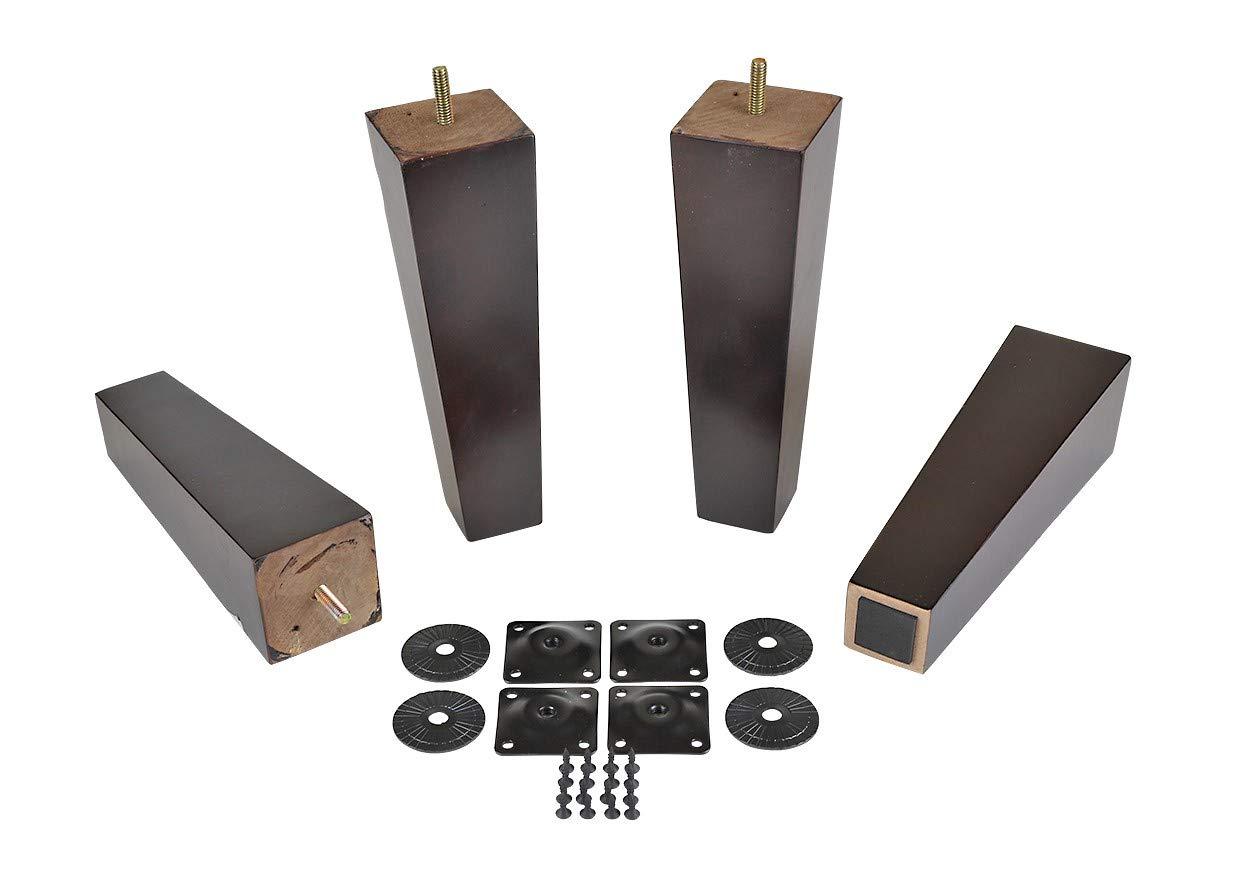 ProFurnitureParts Dark Walnut 9'' Tall Tapered Wood Sofa Legs w/Anti-Skid Pads, Leg Plates Included Set of 4 by ProFurnitureParts