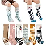 [6 Pairs] Toddler Socks, Non Skid Knee High Cotton Socks for Baby Boys & Girls (M(2-4 Years))