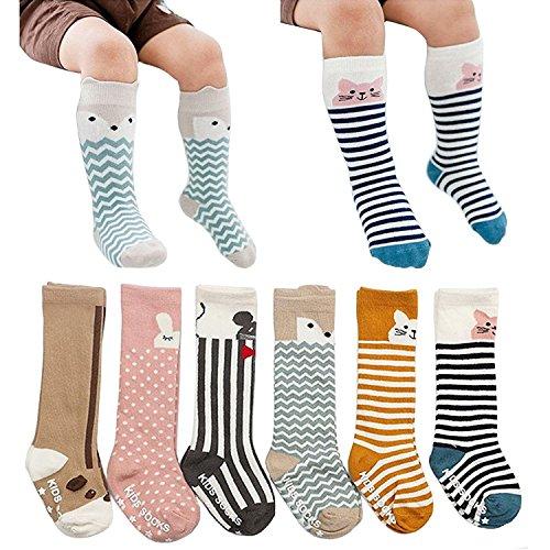 [6 Pairs] Toddler Socks, Non Skid Knee High Cotton Socks for Baby Boys & Girls (M(2-4 Years))]()