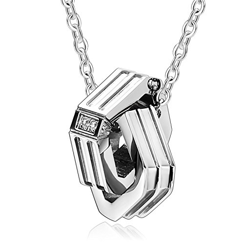 Baby Star Lord Costume (Beydodo Stainless Steel Pendant Necklace for Her Womens Necklaces Interlocking Square Ring Silver Crystal)