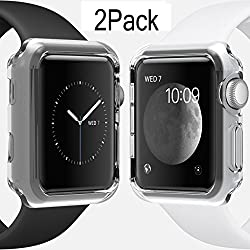 For Apple Watch Case 38mm CaseHQ Hard Soft TPU Transparent Full Body Screen Protector 0.3mm Thin Case Apple Watch Cover For Apple Watch / Watch Sport / Watch 2015(38mm) Crystal Clear (38mm 2Pack)
