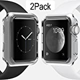 Apple Watch Case 38mm CaseHigh Shop Hard Soft TPU Transparent Full Body Screen Protector 0.3mm Thin Case Apple Watch Cover For Apple Watch / Watch Sport / Watch 2015(38mm) Crystal Clear (38mm 2Pack)