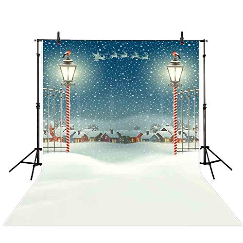 (Allenjoy 5x7ft Christmas Watercolor Backdrop Winter Snow Santa Claus Reindeer Glitter Iron Fence Gate Village Night Landscape Photography Background Decoration Photo Studio Props)