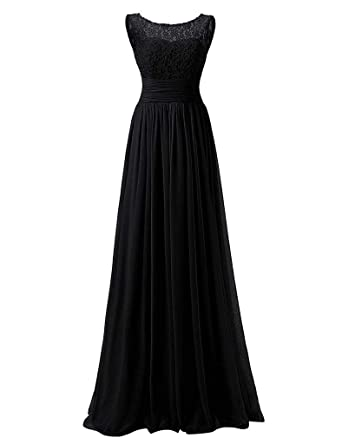 Beilite Womens Maxi Prom Dresses A Line Evening Gowns Formal Black 2