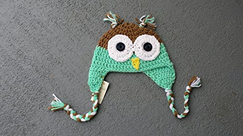 Handmade owl hat - baby size 6 to 12 months - ready to ship - mint green and brown . Ships free. OTHER sizes and colors also ready to go. VIEW all our listings. from Heartmade Crafts