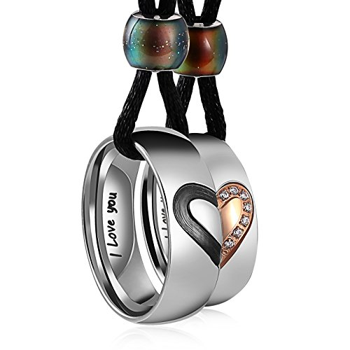 Aeici Couple Necklace Stainless Steel Heart Pendant for Him and Her Black Rope Rose Gold Cubic Zirconia Matching Set ()