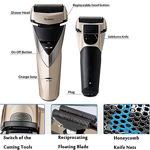 100-240V Professional 3D Floating Cordless Rechargeable Razor Electric Shaver Triple Blade Shaving Machine Waterproof Mustache Beard Razor Trimmer Personal Face Care for Men Father Husband Golden