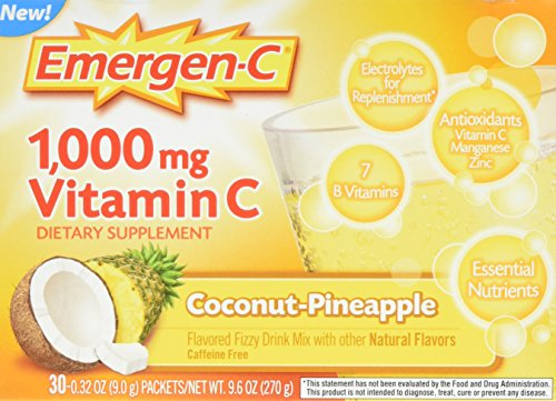 Emergen-C Dietary Supplement Drink Mix With 1000mg Vitamin C, 0.32 Ounce Packets, Caffeine Free (Coconut/Pineapple, 30 Count)