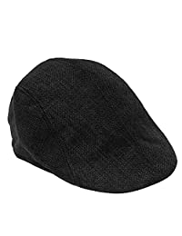 Unisex Men Women Linen-textured Pure Color Flat Peak Beret Cap Hat Black