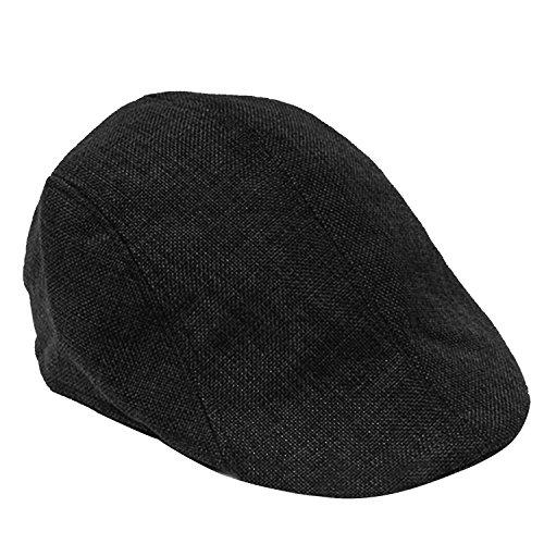 Vococal® Unisex Reine Farbe Leinen Textur Flache Spitze Barette Hüte Kappe - Herren Damen Baskenmützen Schirmmützen, Schwarz