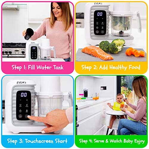 51d6or1KS6L - Baby Food Maker | Baby Food Processor Blender Grinder Steamer | Cooks & Blends Healthy Homemade Baby Food In Minutes | Self Cleans | Touch Screen Control | 6 Reusable Food Pouches (White Double)