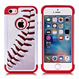 iPhone 5S Case,iPhone SE Case – Baseball Sports Pattern Shock-Absorption Hard PC and Inner Silicone Hybrid Dual Layer Armor Defender Protective Case Cover for Apple iPhone 5/5S iPhone SE
