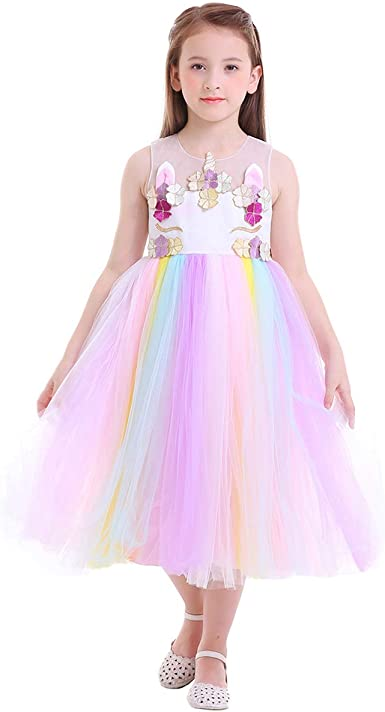 Enfants Filles Licorne Fleur Robe Tulle Tutu Princesse Robe de Mariage Fête D/'Anniversaire