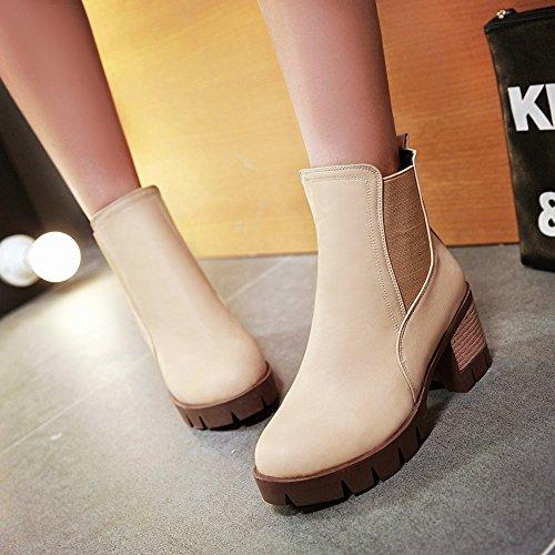 Carolbar Mujer-pull-on Platform Moda Retro Mid Heel Fall Botas Cortas Albaricoque