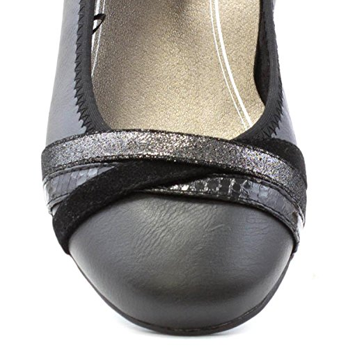 Sprox Schwarze Kreuzbügel-Ballerina der Frauen Schwarz
