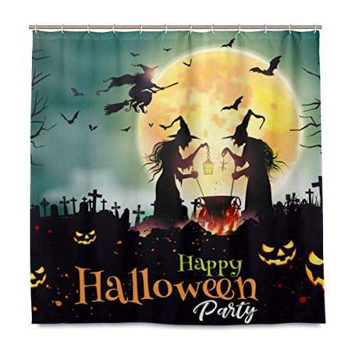 MIGAGA Decoration Shower Curtain Shower Halloween Night Background Old Three Witchs Bath Curtains Waterproof Fabric Bathroom Decor Set with Hooks 72X72inch]()