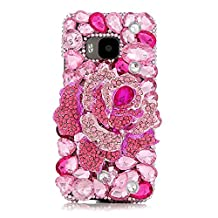 KAKA(TM) Creative Design Clear Case Bling Glitter with Pink Rhinestone Flowers Crystal Hard Case Cover for HTC M9