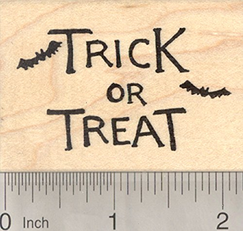 Trick or Treat Rubber Stamp, Halloween Bats