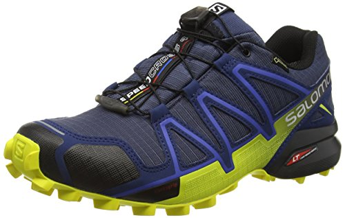 Salomon Men's SPEEDCROSS 4 GTX Trail Running Shoe, Synthetic/Textile, Blue (Slateblue/Blue Depth/Corona Yellow), Size: 44 2/3