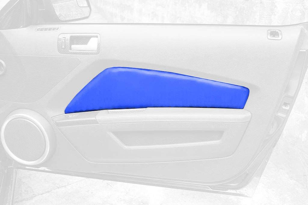 RedlineGoods Door Insert Covers Compatible with Ford Mustang 2010-14. Black Alcantara-Silver Thread