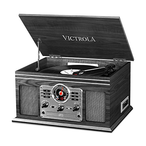 - Victrola Nostalgic Classic Wood 6-in-1 Bluetooth Turntable Entertainment Center, Graphite