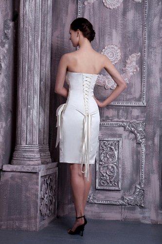 Weiß Abendkleid knielangen traegerlosen GEORGE BRIDE Einfache 6ASIXq