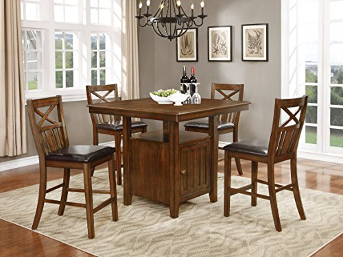 NHI Express Wood Counter Height Dining Set, Table with Storage & 4 Chairs