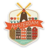 2 x 20cm- 200mm Amsterdam Netherlands Vinyl SELF ADHESIVE STICKER Decal Laptop Travel Luggage Car iPad Sign Fun #9188