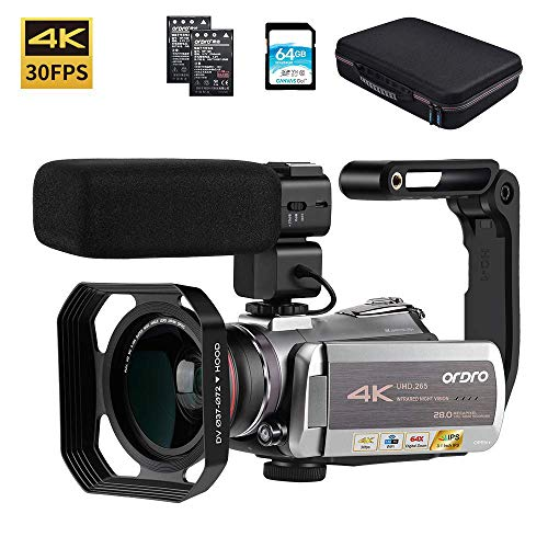 Video Camera 4K Camcorder ORDRO 4K Ultra HD 30FPS Digital Video Camera WiFi Recorder IR Night Vision 3.1″ IPS Touch Screen with Stereo Microphone, Wide Angle Lens, Camera Holder and 64GB SD Card