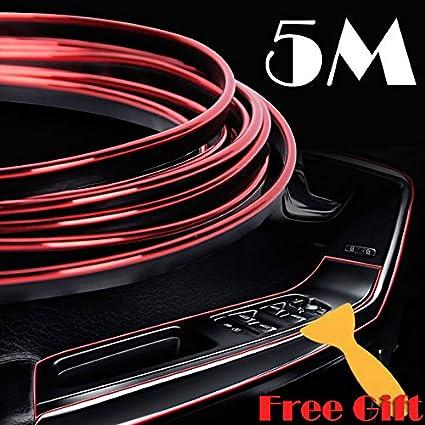 X AUTOHAUX Car Moulding Trim Strip DIY Line Gap Door Edge Chrome Purple 10m