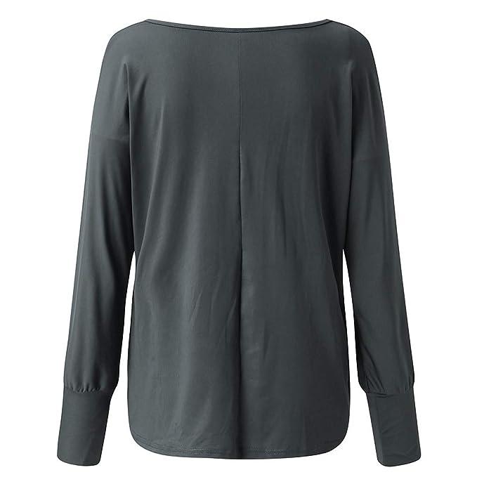 VEMOW Camiseta Blusa Mujer Superior Informal con Estampado Floral Suelto De Manga Larga con Cuello En V para Mujer Tops Blusa OtoñO Invierno(Azul, S): Amazon.es: Ropa y accesorios