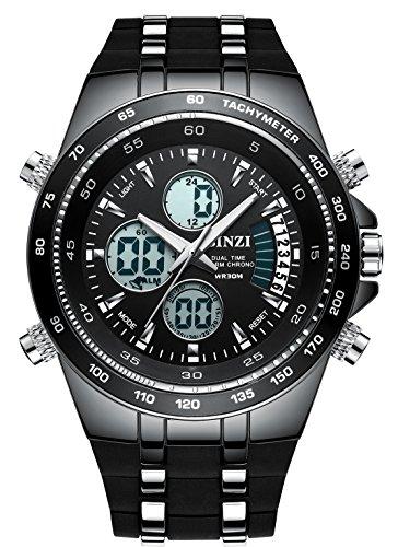 BINZI Men's Sports Watches Fashion Big Face Luminous Quartz Analog Digital Dual Time Wrist Watch with Black Band - Time Quartz Wrist Watch