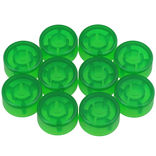 Yibuy 10 Pieces 24.4x12mm Plastic Green Electric Guitar Effect Pedal Knobs Cap Musical Instrument Accessory ()