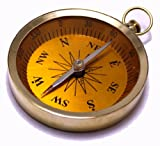 3'' Golden Open Face Mariner's Pocket Compass with Beveled Glass