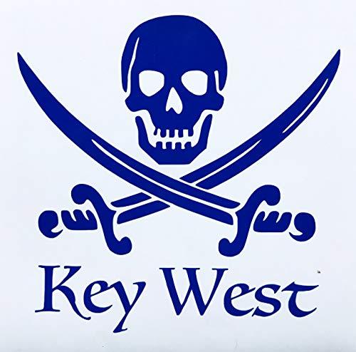 Custom Key West Vinyl Pirate Decal - Jolly Roger Bumper Sticker, for Coolers, Boats, Laptops, Car Windows - Beach Design